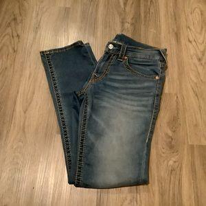 True Religion Slim Medium Blue Jeans with Back Flap Pocket 31